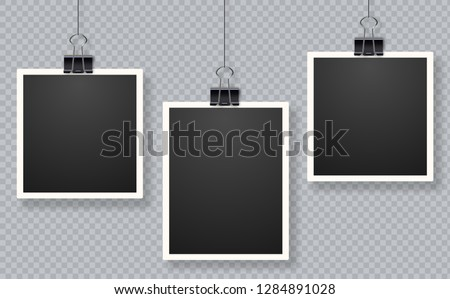 Set of photo frames. Blank photo frame set hanging on a clip. Retro vintage style. Black empty place for your text. Retro realistic vector photo frame placed on transparent background. Foto stock ©