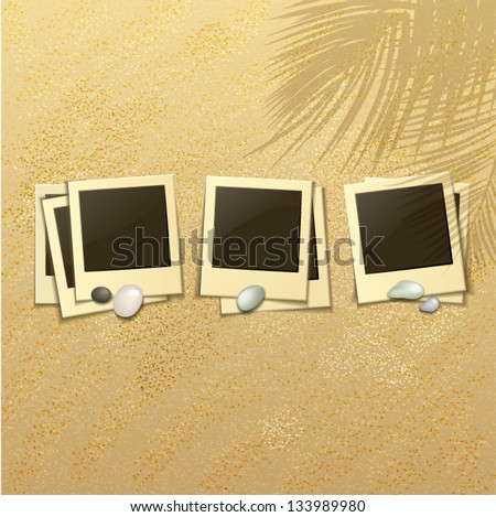 set of photo frames on a sandy