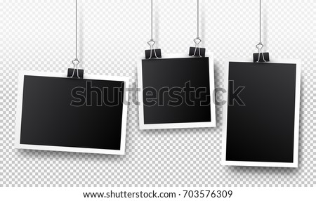 Set of photo frames. Realistic detailed photo icon design template. Vector isolated on transparent background