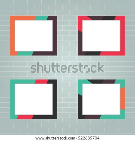 Set of photo frames, realistic photo frame, photo, picture, image. Flat design, vector