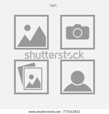 Set of photo icon or image icon. Vector illustration.