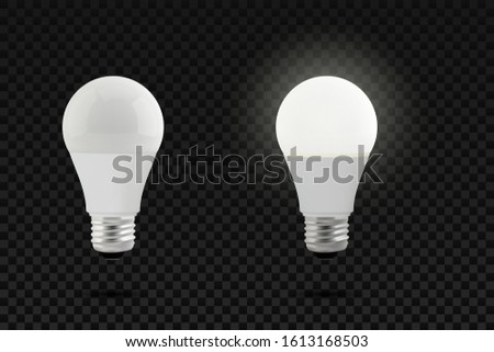 Set of photo realistic vector realistic led lamps. Economical and eco light concept