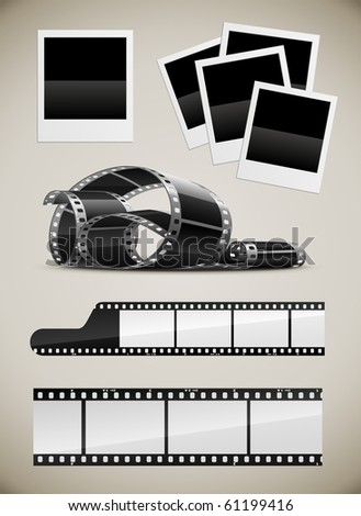 set of photo video film pictures set vector illustration