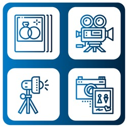 Set of photographer icons such as Wedding photo, Video camera, Studio lighting , photographer