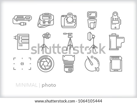 Set of 15 photography icons of lighting and camera equipment for a studio or documentary photographer