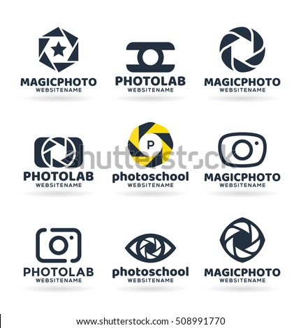Set of photography logo design elements. Vector logos, logotypes, identity, labels, badges and other branding objects for your business. Photo camera vector illustration (12)