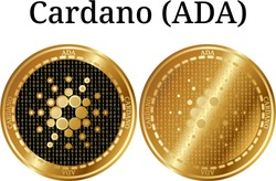 Set of physical golden coin Cardano (ADA), digital cryptocurrency. Cardano (ADA) icon set. Vector illustration isolated on white background.