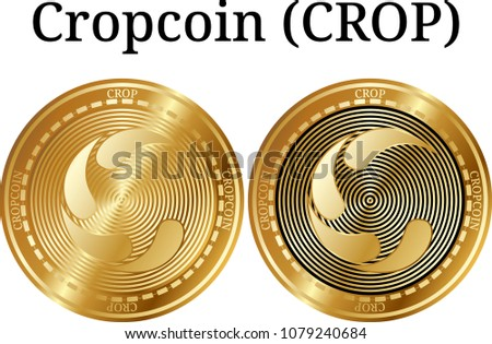 Set of physical golden coin Cropcoin (CROP), digital cryptocurrency. Cropcoin (CROP) icon set. Vector illustration isolated on white background.