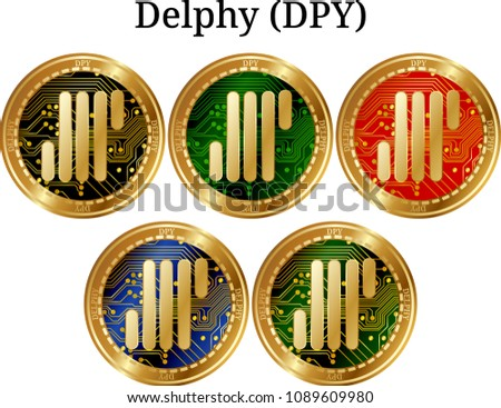 Set of physical golden coin Delphy (DPY), digital cryptocurrency. Delphy (DPY) icon set. Vector illustration isolated on white background.