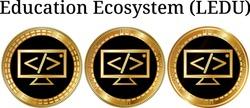 Set of physical golden coin Education Ecosystem (LEDU), digital cryptocurrency. Education Ecosystem (LEDU) icon set. Vector illustration isolated on white background.