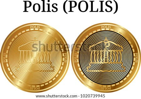 Set of physical golden coin Polis (POLIS), digital cryptocurrency. Polis (POLIS) icon set. Vector illustration isolated on white background.