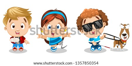 Set of physically challenged, handicapped kids laughing, walking, enjoying life. Little boy with bandaged arm, girl has artificial leg, other boy is blind in sunglasses with guide dog. Cartoon vector. Stock photo ©