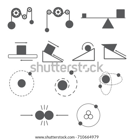 set of physics icon and science