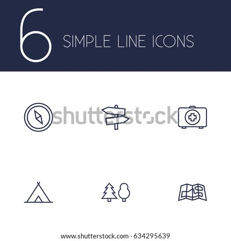 set of 6 picnic outline icons