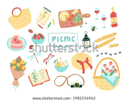 set of picnic themed vector