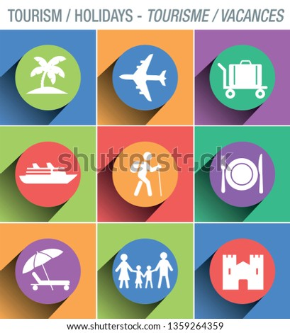 Set of pictograms on the theme of tourism and holidays, to illustrate presentation documents, brochures, or websites.