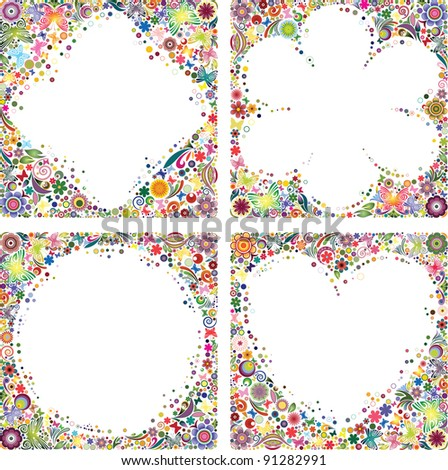 Set of picture frames - stock vector