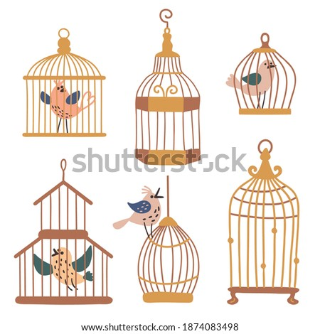 set of pictures with bird cages