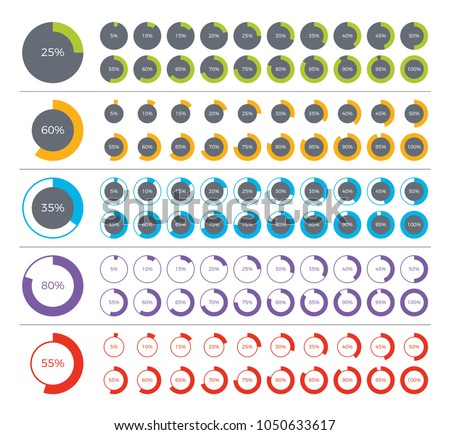 Set of pie chart infographic elements. 0, 5, 10, 15, 20, 25, 30, 35, 40, 45, 50, 55, 60, 65, 70, 75, 80, 85, 90, 95, 100 percents.