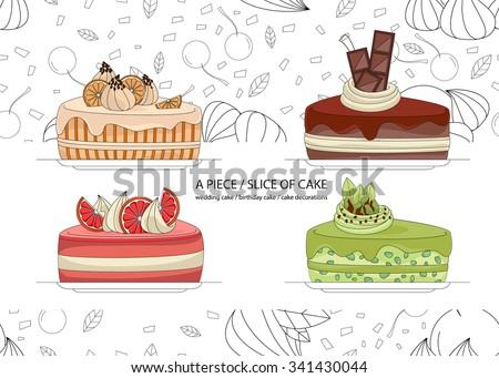 set of 4 pieces cake  orange