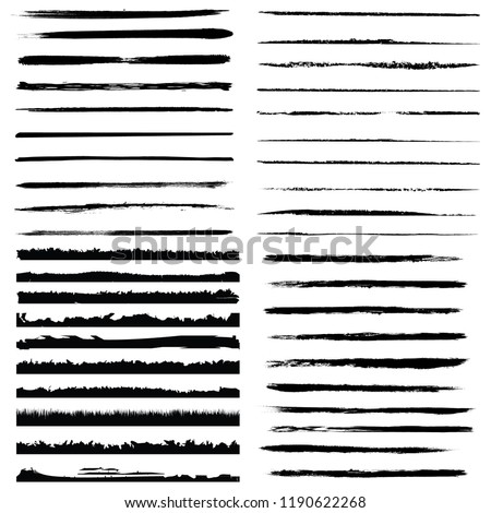 Set of 40 pieces grunge edges.Grunge borders.Vector brush strokes