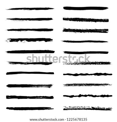 Set of 20 pieces grunge edges.Grunge borders.Vector brush strokes