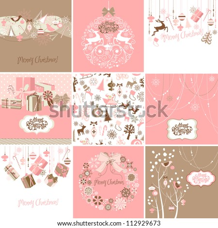 set of pink and brown christmas