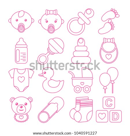 Set of pink baby icons in line stile isolated on white. Could be used for cards, banners, patterns, wrapping paper, web