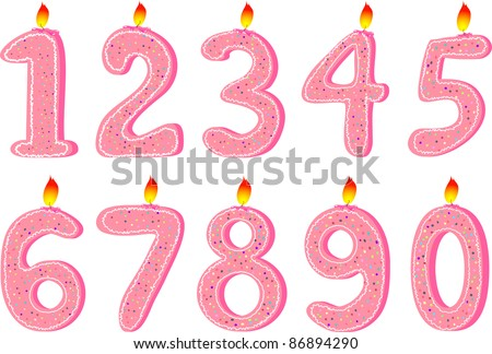 Set of pink candles for Birthday party