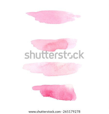 Set of pink cosmetic watercolor brush strokes isolated on white. Make up colors. Vector