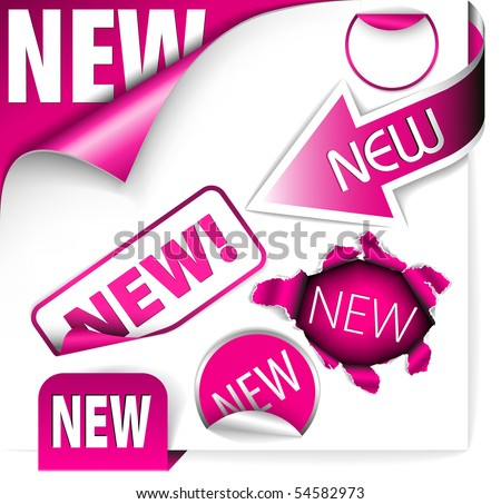 Set of pink elements for new items in eshop or on the web page