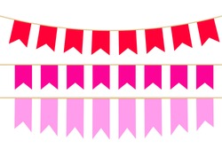 Set of pink flat holiday flags isolated on white background. Vector illustration with ribbons. Happy birthday banner.