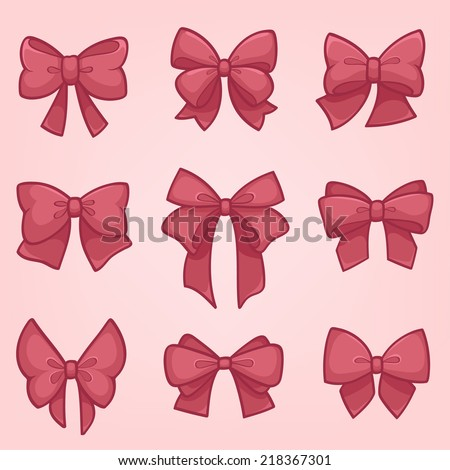 set of pink gift bows with