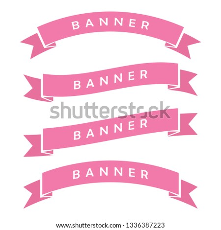 set of pink ribbon banner icon,glyph  ribbon icon,style,ribbon vector banner, on white background