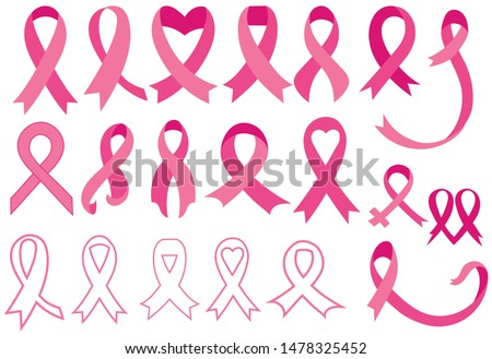 Set of pink ribbons. Breast cancer awareness ribbons collection. Vector illustration.