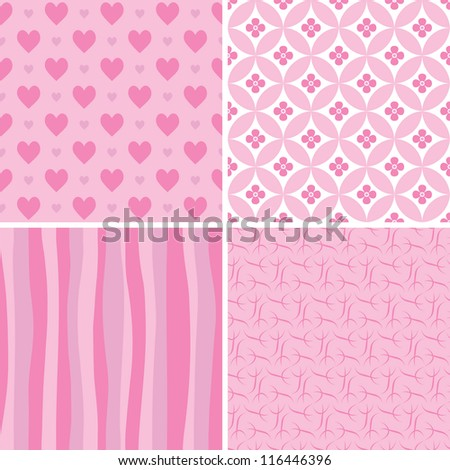 set of pink seamless patterns