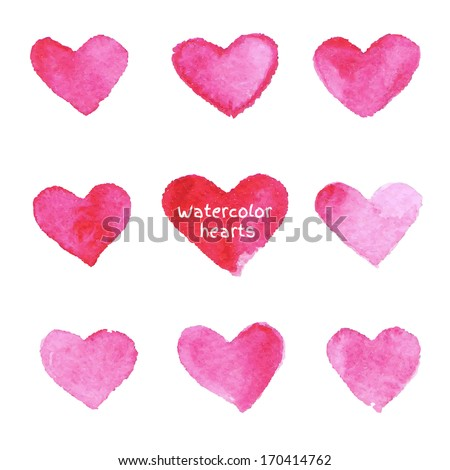 set of pink watercolor hearts