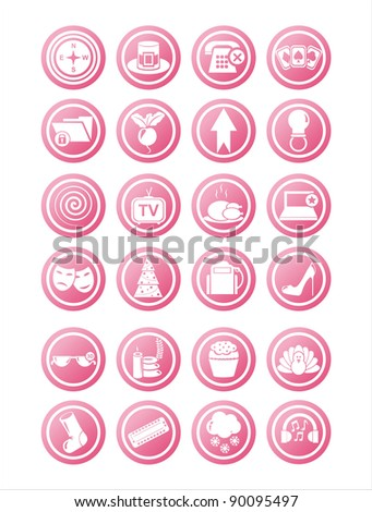 set of 21 pink web signs