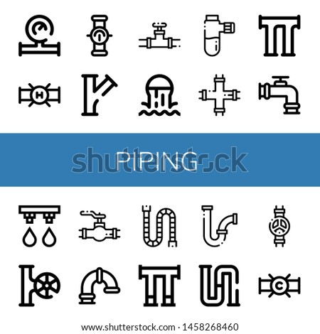 Set of piping icons such as Water meter, Pipe, Valve, Sewer, Pipes, Irrigation system, Piping , piping