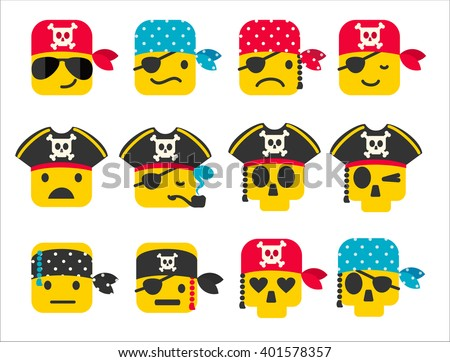 set of pirate smileys with