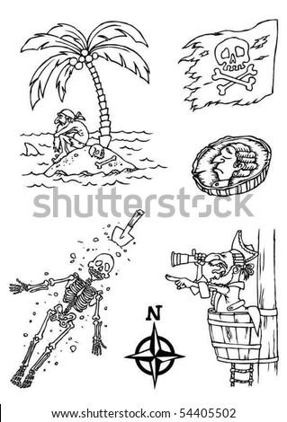 Set of pirates - stock vector