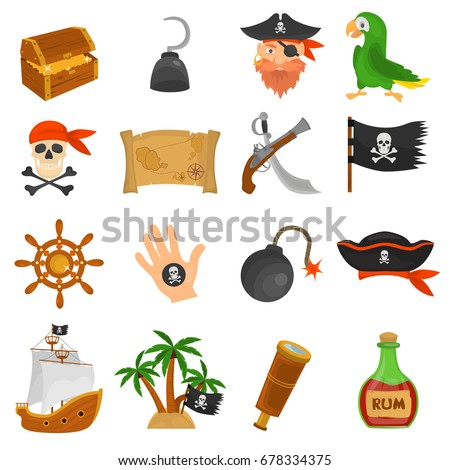 set of pirates color flat icons