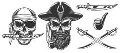 Set of pirates. Concepts with skulls. Vector illustraiton