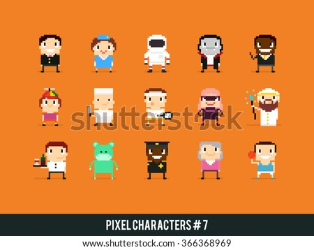 set of pixel art characters