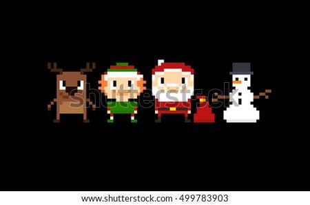 set of pixel art christmas