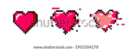 Set of pixel art heart icons. Vector 8-bit retro style illustration. ストックフォト ©
