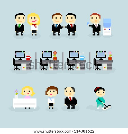 Set of pixel art icons, office life theme, vector