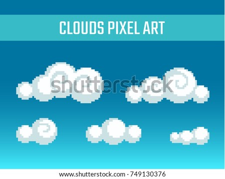 Set of pixel art stylized clouds different forms.