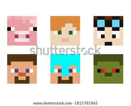 set of pixel avatars heroes