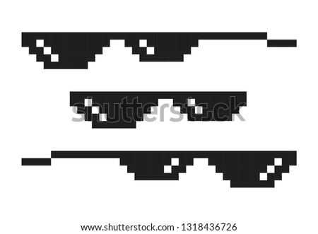 Set of pixel glasses in art style 8-bit. Internet meme. Thug life. Template design for photos, pictures, caricature. Vector illustration
